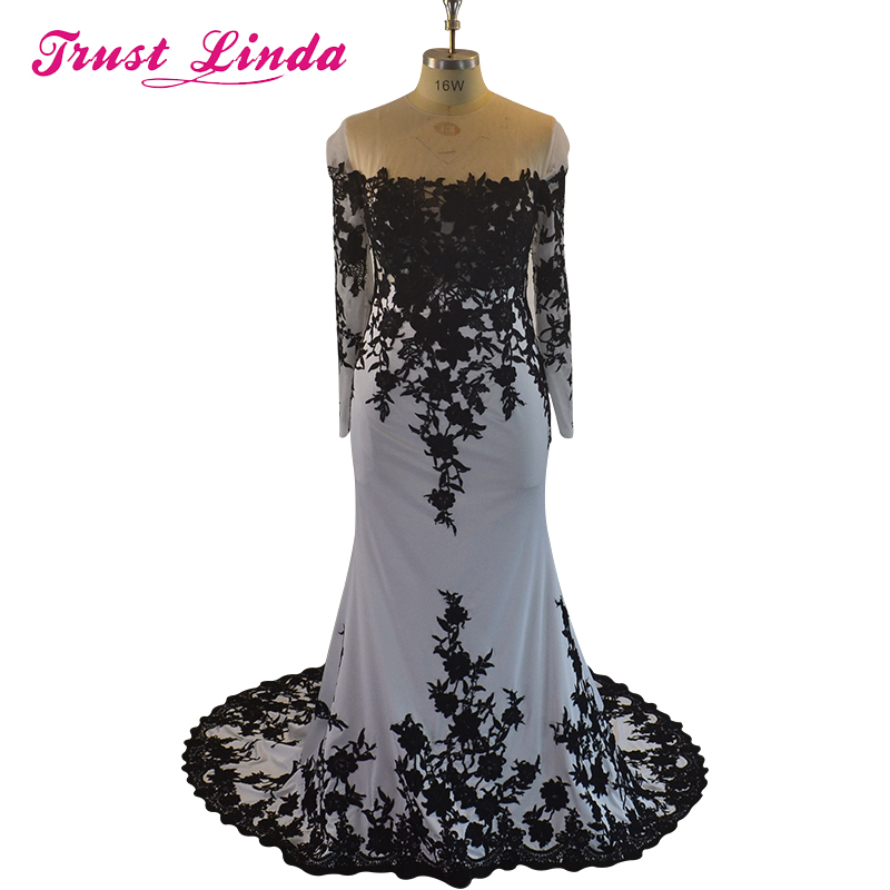 Long Sleeves Mermaid Prom Gown Boat Neck Floor Length Lace Satin Evening Dresses For Wedding Party Custom Made