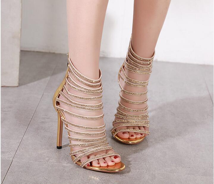 D'été Strass Gladiateur Talons Mince As Chaussures Femmes Showed Pompes Haute Cristal Troupeau Parti Dames Sandales Mode De Color PxvqPF