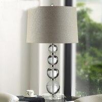 Modern Transparent Bedroom K9 Crystal Table Lamps Lights Desk Bedside Standard Lighting Living Room Lamparas de Mesa 110 240V