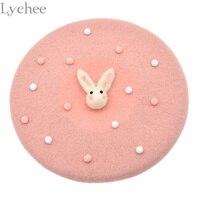Lychee Japanese Lolita Style Women Rabbit Cute Wool Hat Harajuku Casual Loose Black Beret