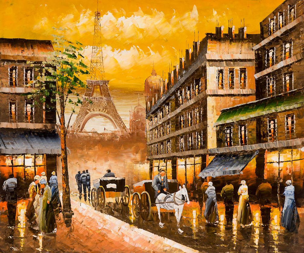 Christmas Gift Modern Decorative Art Oil Paint Painting Landscape Wall Painting on Canvas Evenings Delight In Pari Hand Painted