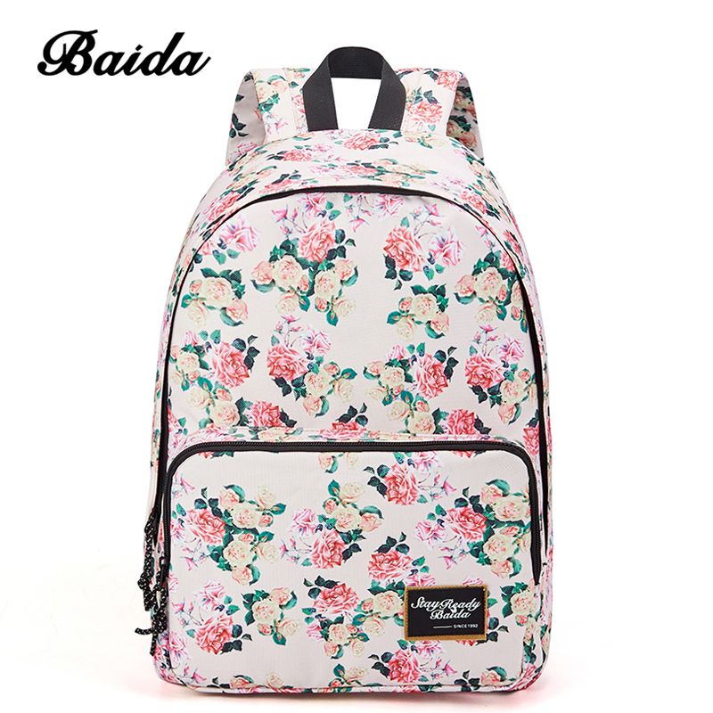 59b15a60ff BAIDA Brand Fashion Floral Print Backpack School Book Bags Yellow and Pink  Rose Flower Backpacks for Teen Girls High School-in Backpacks from Luggage    Bags ...