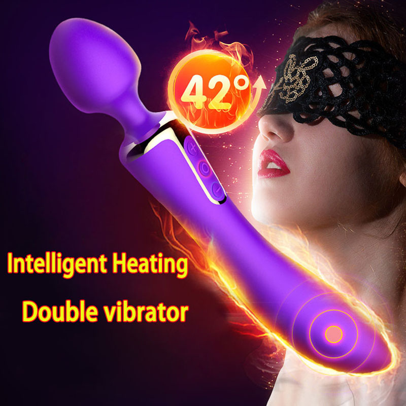 Heating double vibrator sex toys for woman g spot nipple clitoris stimulator usb charge silicone vibrators for women magic wand stylish mid waist cuffed denim ripped shorts for women