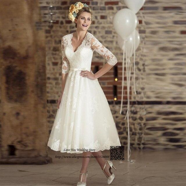 abe8bbdf8f8 Boho Короткое Свадебное Платье Кружева Три Четверти Чай Длина Платья  Невесты 2017 Весна Свадебные Платья Vestido