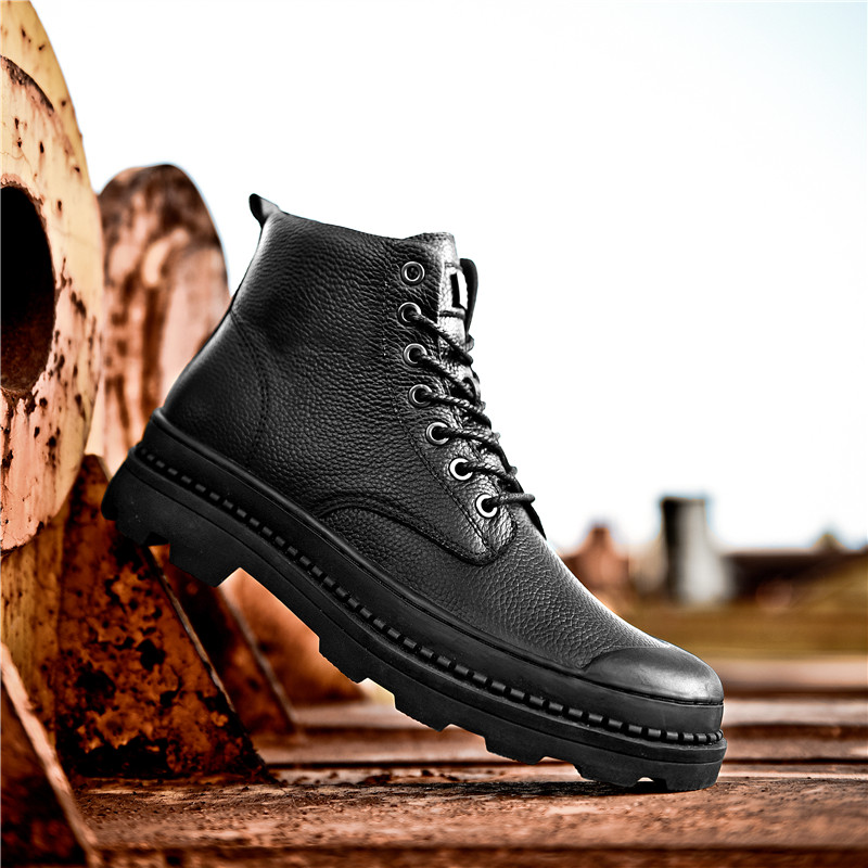Au black Confortable Bottes 12 Chaussures Fur En La Chaud De Plus Garder Black Fourrure Cuir Avec Véritable Taille Mode Travail 13 Imperméable Neige D'hiver Hommes Casual qxzE41A