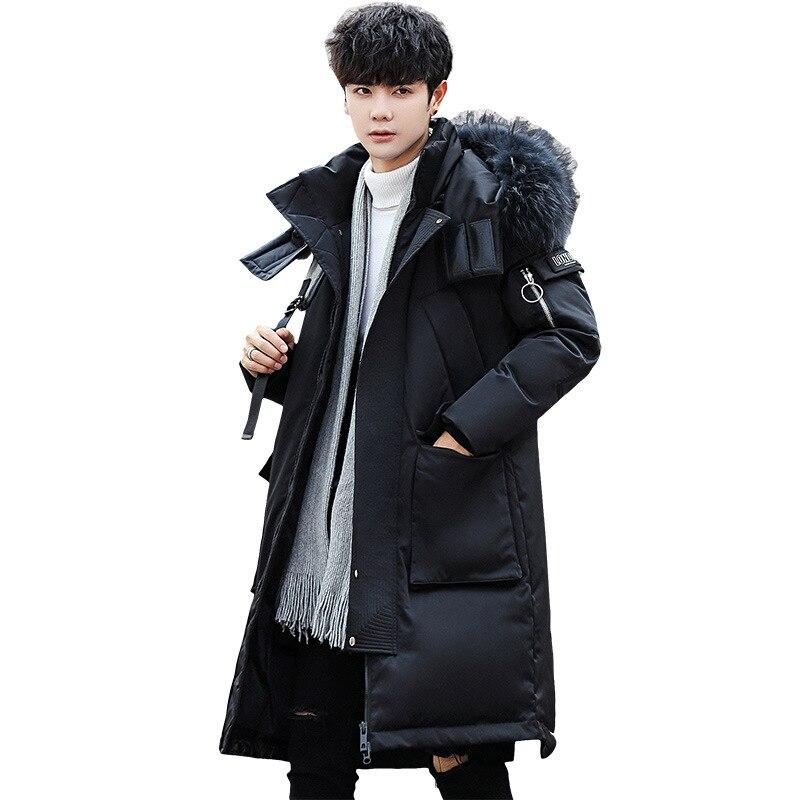 Hiver nouveau hommes doudoune mode manteau à capuche hiver blanc canard vers le bas épais grand col de fourrure chaud manteau mâle vêtements