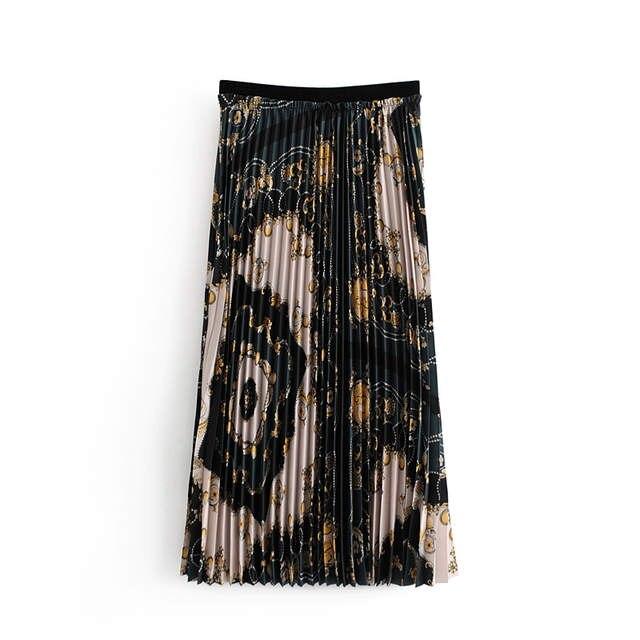 480aa3addd17a Wonder 2018 new Vintage Floral Chains Pattern Pleated Midi Skirt Elastic  Waist A Line Streetwear Skirts Casual Faldas Mujer