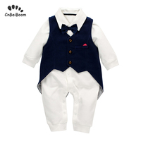 Baby Rompers Gentleman Tuxedo Vest + cotton jumpsuit Costumes Birthday weddling Party Boys Clothing Infant Formal clothes set