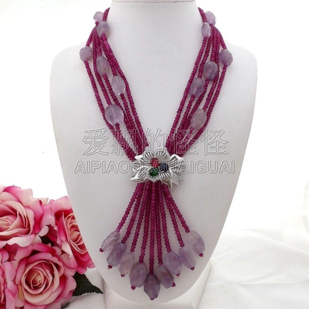 N073008 20 ''5 brins collier en cristal de pierre violet CZ pendentif