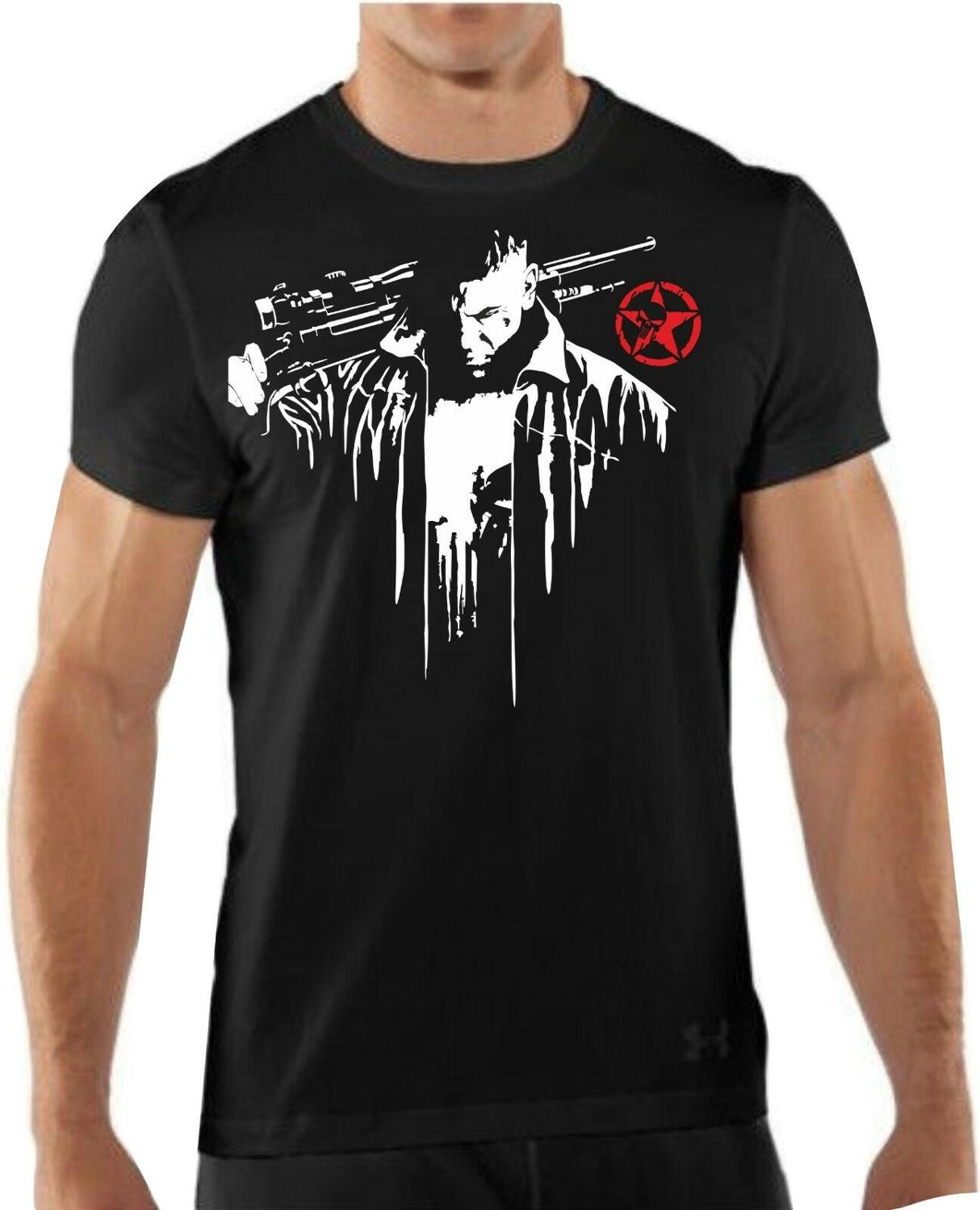 T-Shirt Knit Skull T-Shirt Fashion The Punisher Skul Novelty Mens T-Shirts for Men 3D Printed Short Sleeve Men'S Tops T Shirt