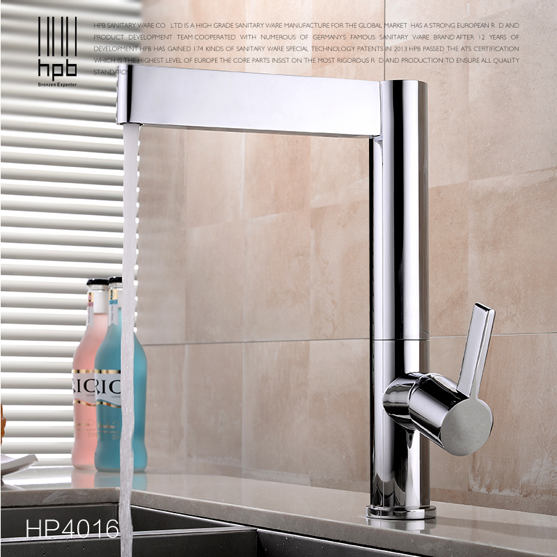 HPB Brass Kitchen Faucets Sink Mixer Tap Single Handle Single Hole Hot And Cold Water Deck Mounted Contemporary Style HP4016