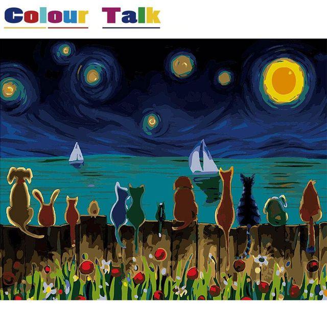 Картина на холсте по номерам нарисованные красками по номерам масляная живопись каллиграфия картины DIY плакат на стену P-5103