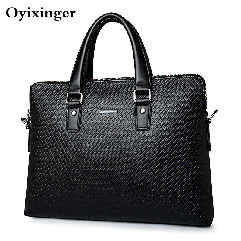 New Men Handbag Luxury Genuine Leather Business Men's Briefcase Woven Pattern Shoulder Bag Cowhide Male Messenger Bag Sac Homme