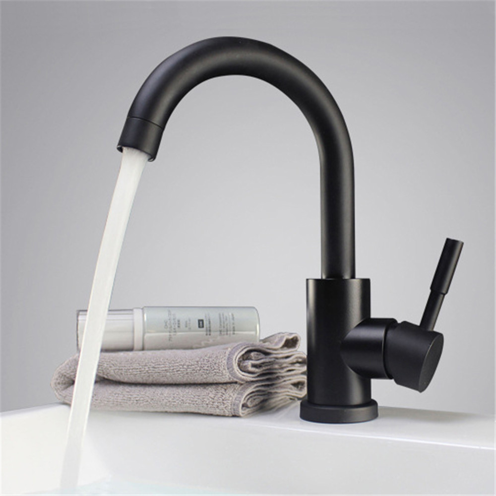 Black and white color 304 stainless steel polished bathroom basin mixer dual sink rotatable basin faucet kitchen mixerBlack and white color 304 stainless steel polished bathroom basin mixer dual sink rotatable basin faucet kitchen mixer