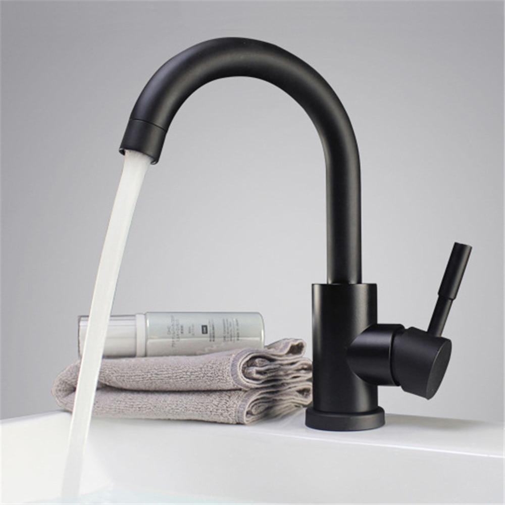 Rubinetti lavabo bagno commerciali rubinetto cucina bagno lavandino Design del lavandino del lavandino del bagno del controsoffitto del bacino del rubinetto della maniglia del singolo rubinetto dottone nero