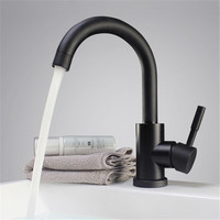 Black And White Color 304 Stainless Steel Polished Bathroom Basin Mixer Dual Sink Rotatable Basin Faucet