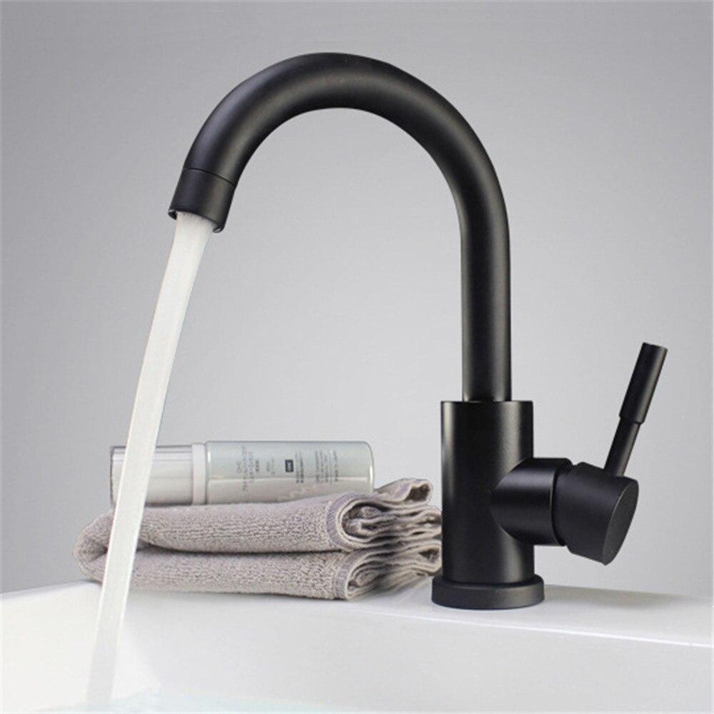 Preto e branco cor 304 aço inoxidável polido misturador da bacia do banheiro pia dupla giratória torneira da bacia misturador da cozinha