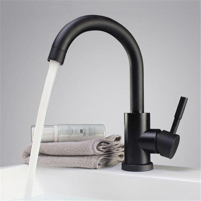 Schwarz und weiß farbe 304 edelstahl poliert badezimmer basin mixer ...