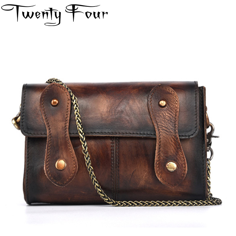 Twenty-four Woman Genuine Leather Bag Vintage Women Messenger Bag Small Cross Body Cover Buckle Chain Solid Handbag High Quality twenty four women brand flap bags natural genuine leather handbags with chain solid color cover small bags young cross body bags