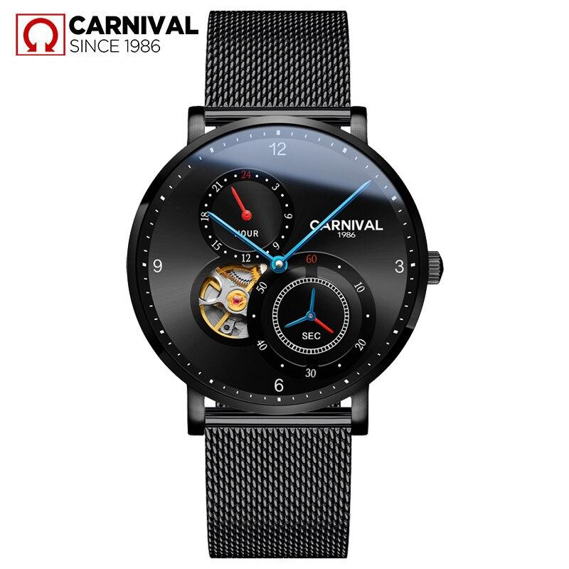 Carniva men relógio automático malha banda breve ultra fino pequenos segundos dial 24 horas relógio mecânico de luxo simples relógio de negócios