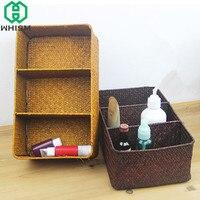 WHISM Handmade Woven Storage Basket Rattan Storage Box See Grass Cosmetic Organizer Sundries Holder Laundry Baskets