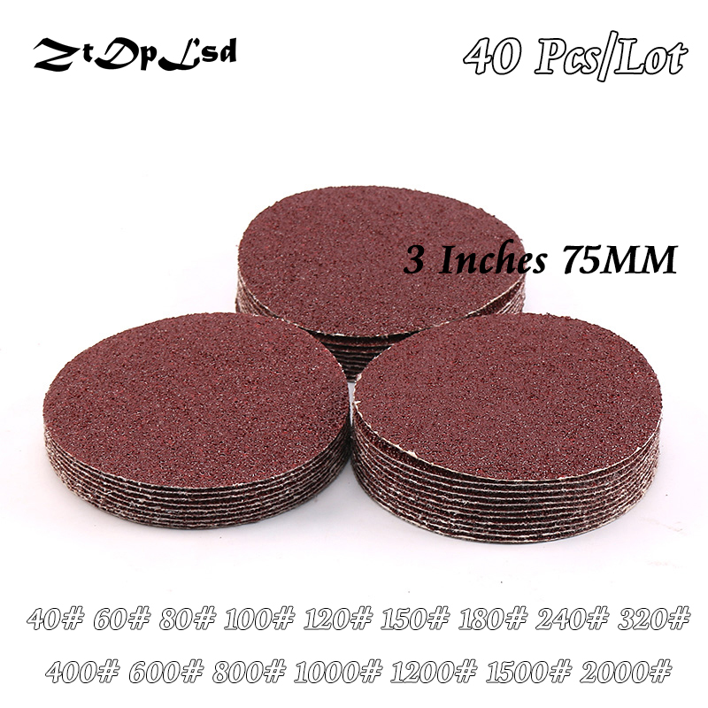 ZtDpLsd 40Pcs/lot Dry Grinding 3 Inches 75MM Paper Flocking Sandpaper Pad Sanding Disc Woodworking Electric Grinder Accessories