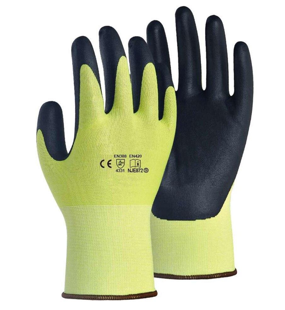 Gants de sécurité à haute visibilité enduits de mousse de Nirile de couleur jaune de Fluorescence HPPE gants de travail résistants aux coupures 3