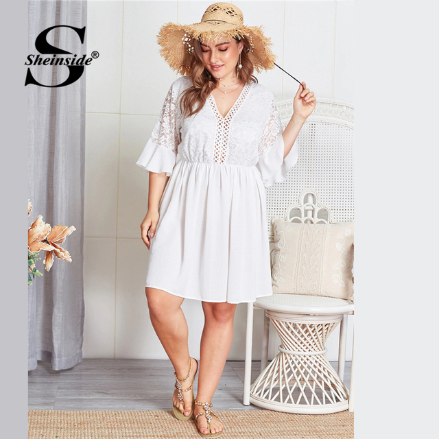 Sheinside Plus Size Contrast Lace Hollowed Out V Neck Dress Women 2019 Summer Flounce Sleeve Dresses Ladies A Line Dress 2
