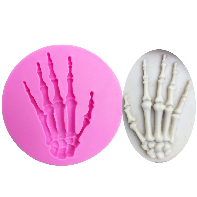 M0699 Skull Hand Halloween Silicone Mold Fondant Cake Decorating Tools Chocolate Candy gumpaste molds(China)