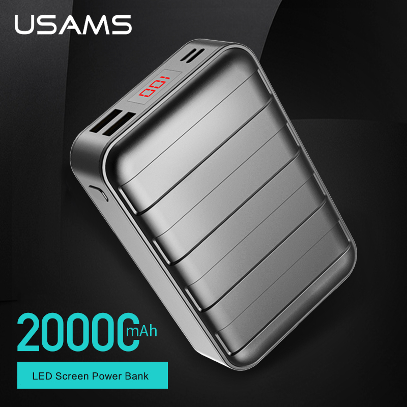 USAMS Power bank 20000mAh Dual USB Powerbank Portable Mobile Phone Charger For iPhone 7 6 6s