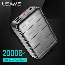 USAMS Power bank 20000mAh Dual USB Powerbank Portable Mobile Phone Charger For iPhone 7 6 6s Xiaomi Universal External Battery