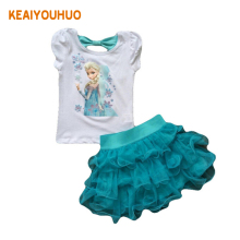 Children's clothing set 2017 New Summer girls Princess Dress + T shirt sets kids clothes Kids Tracksuit Girls Children Clothing