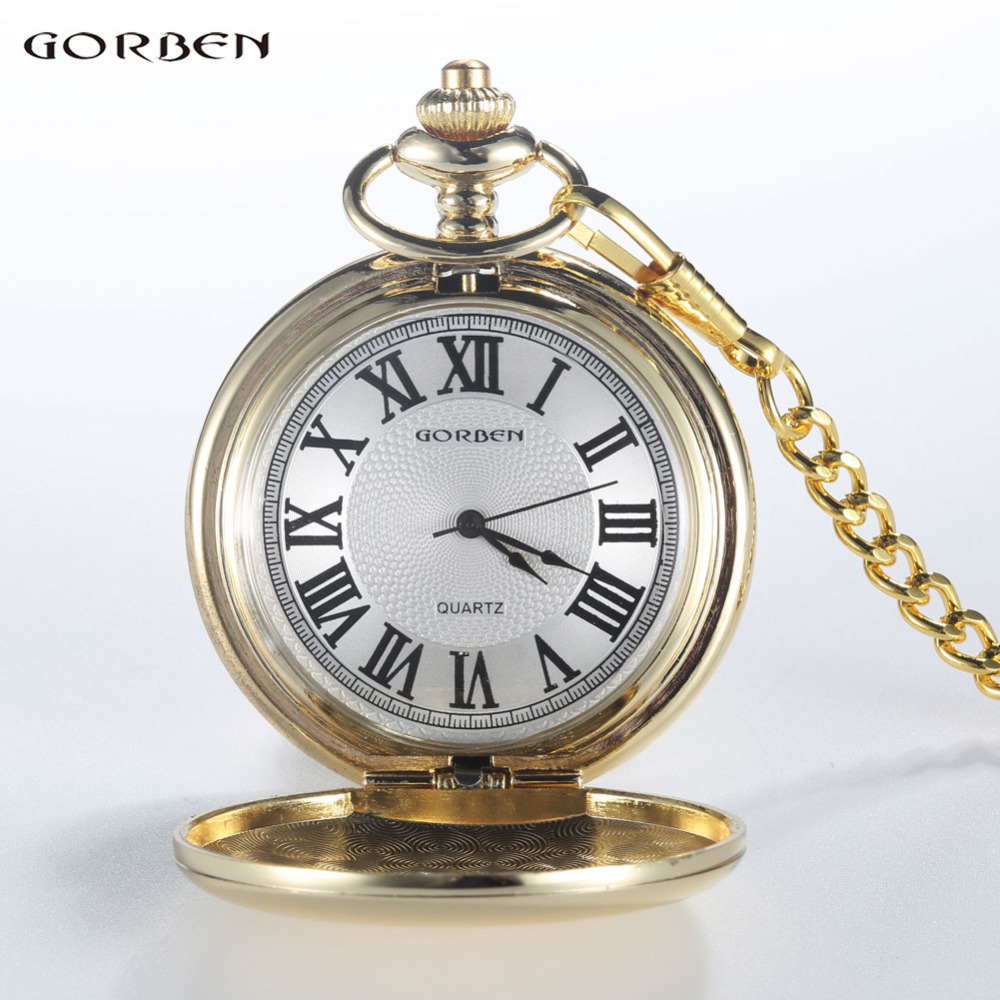 GORBEN Marca Clásico Reloj de Bolsillo de Cuarzo Para Hombres de Oro - Relojes de bolsillo - foto 6