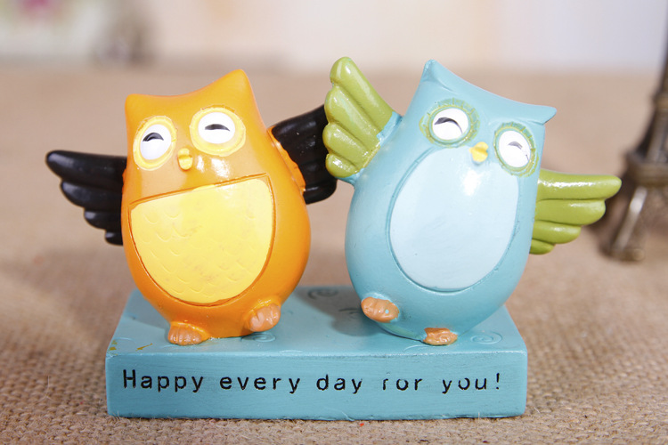 ANGRLY Adorable cartoon owl resin craft ornaments Hand-painted crafts Valentines Day wedding gift decoration party Angel