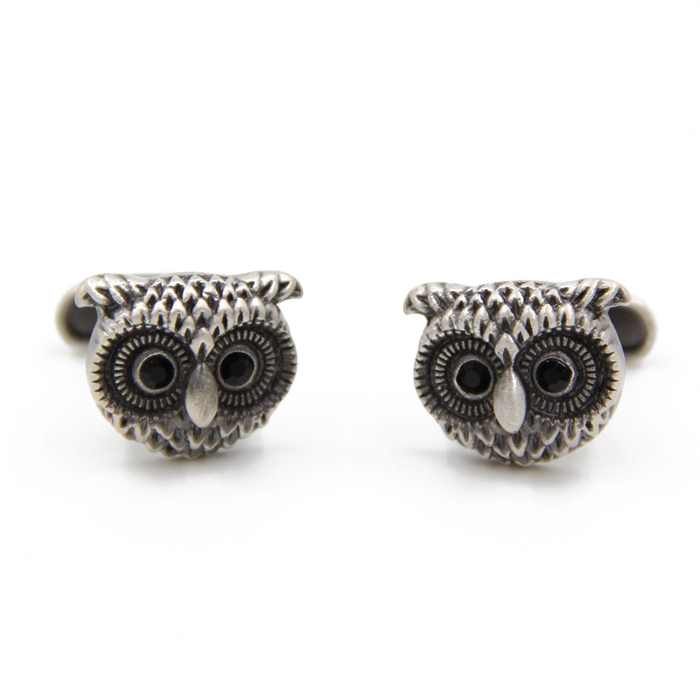 2016 Hot sale tie clips vintage Design Owl Cufflinks french style crystal man shirts cuffs cuff links for men, Free Shipping