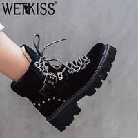WETKISS Autumn Pleuche Women Ankle Boots Round Toe Footwear High Heels Female Military Boot Cross Tied Platform Shoes Woman New