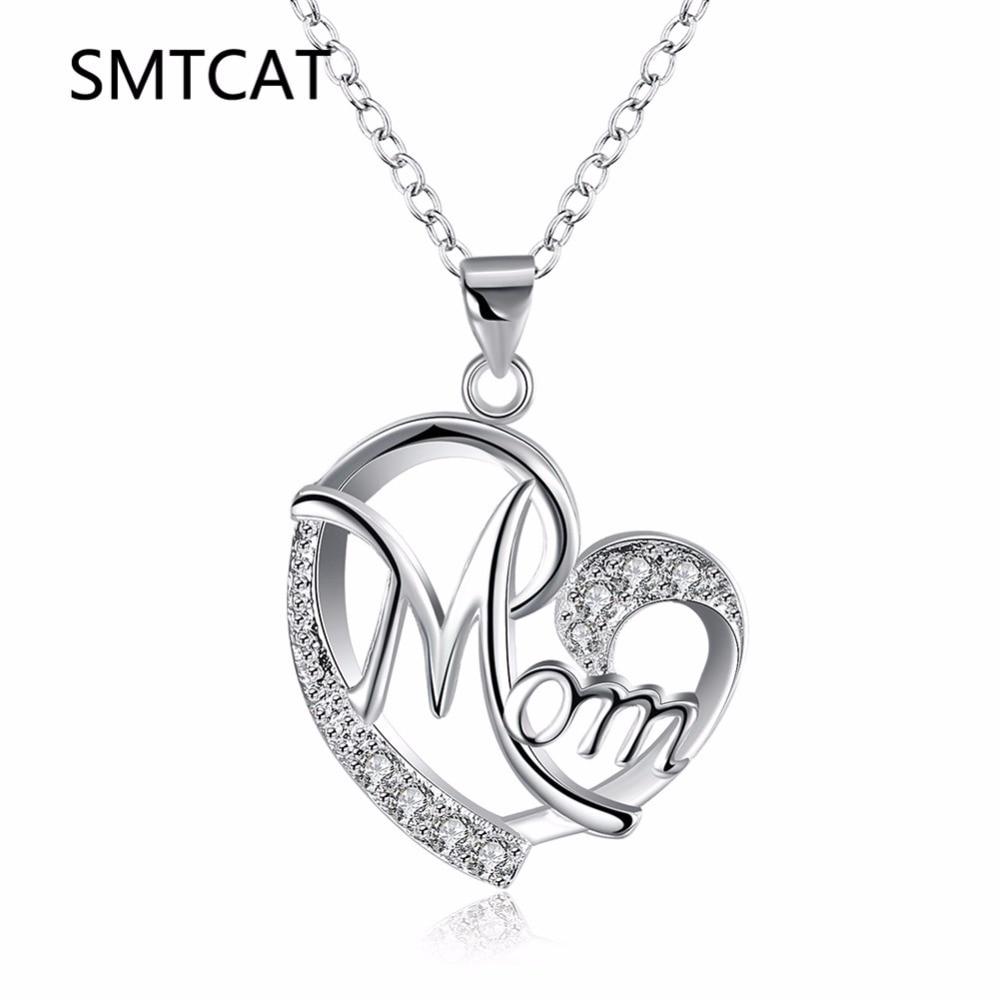 dacb7e6ccdb1 Top qualitly amor mamá regalo gran Mama corazón colgante collar plata  plateada joyería Día de la Madre Regalos para mamá letras