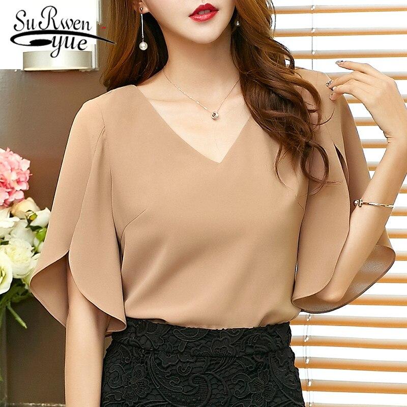 2019 Chiffon Women Blouse Shirt New Fashion Short Flare Sleeve Women's Clothing Sexy V-neck Plus Size Lady Tops Blusas 900C 30