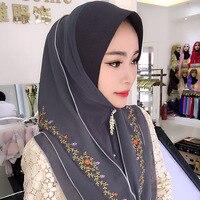 2018 New Bandanas Chiffon Fashion Embroideried Muslim Scarf Muslim Hijab Scarf Islamic Muslim Headscarf Free Shipping
