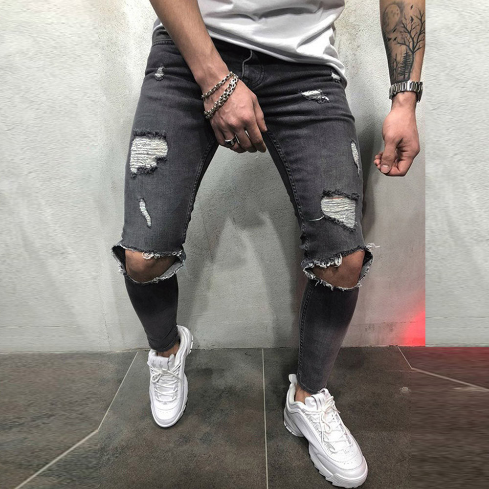 Mens Jeans Trousers Pencil-Pants Slim-Fit Skinny Stretch Distressed Ripped Freyed New-Fashion