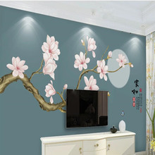 Magnolia flower rich hand-painted meticulous and bird background wall