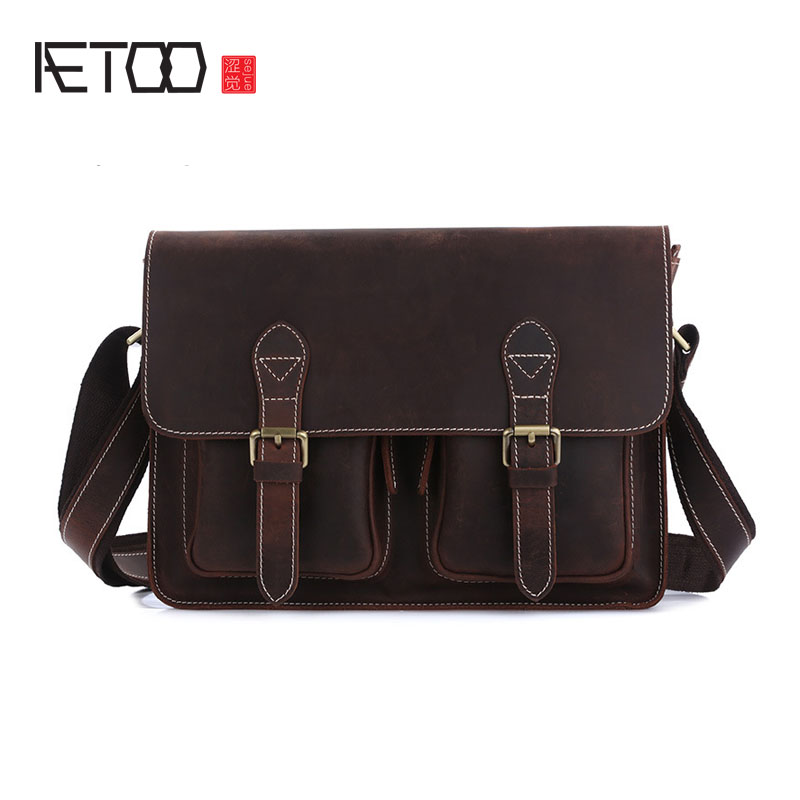 AETOO Retro mad horse leather shoulder bag leather Messenger bag business package cowhide men briefcase briefcase men s style leather casual male mad horse skin retro brown leather men s business package handbag 2017 the latest