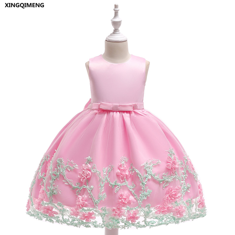 In Stock Pink Flower Girl Dresses Bow 3 10y Wedding Party Formal