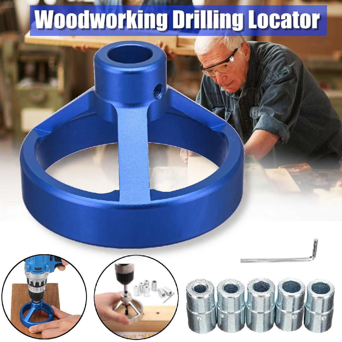 Drill Guide Hole Vertical Pocket 90 Degree Drill Hole Punch DIY Locator Kit Woodworking Tools