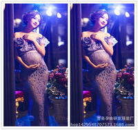 New Korean Lace Hollow Long Purple Dress For Women Pregnant Photo Mommy Photography Clothes Wholesale Shop