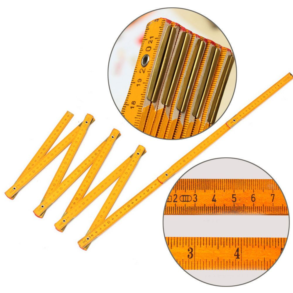 HOT Sale Wooden Yard Stick Folding Ruler Wood Carpenter Metric Measuring Tools 200cm School Office Supply