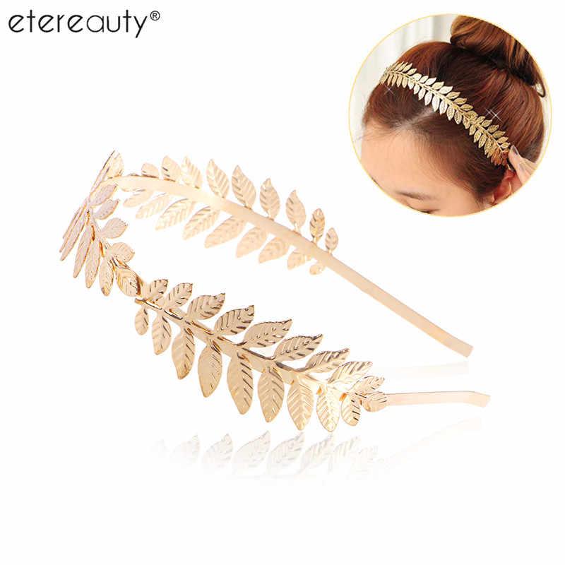 Roman Goddess Leaf Branch Dainty Bridal Hair Crown Head Dress Boho Alice Band (Gold)