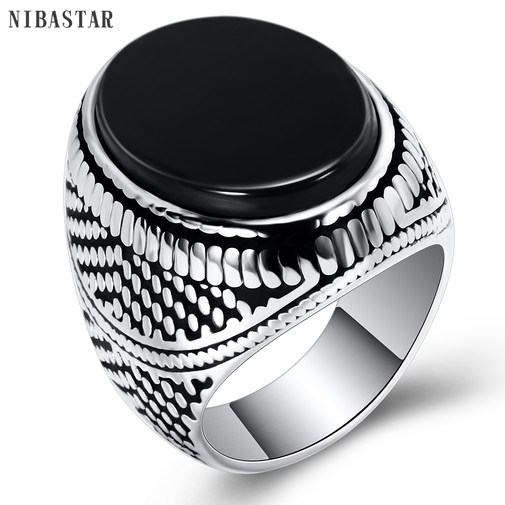 Fashion Super Hero Ring Men's Ring With Black Stone Ring 316L Stainless Steel Jewelry Vintage Silver Plated Ring 1