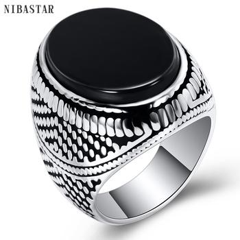 Moda superbohater pierścionek męski pierścionek z czarnym kamienny pierścień ze stali nierdzewnej 316L biżuteria w stylu Vintage posrebrzany pierścionek tanie i dobre opinie VQYSKO CN (pochodzenie) STAINLESS STEEL Mężczyźni Kryształ Archiwalne Zespoły weselne ROUND 25mm Android Uśpienia tracker