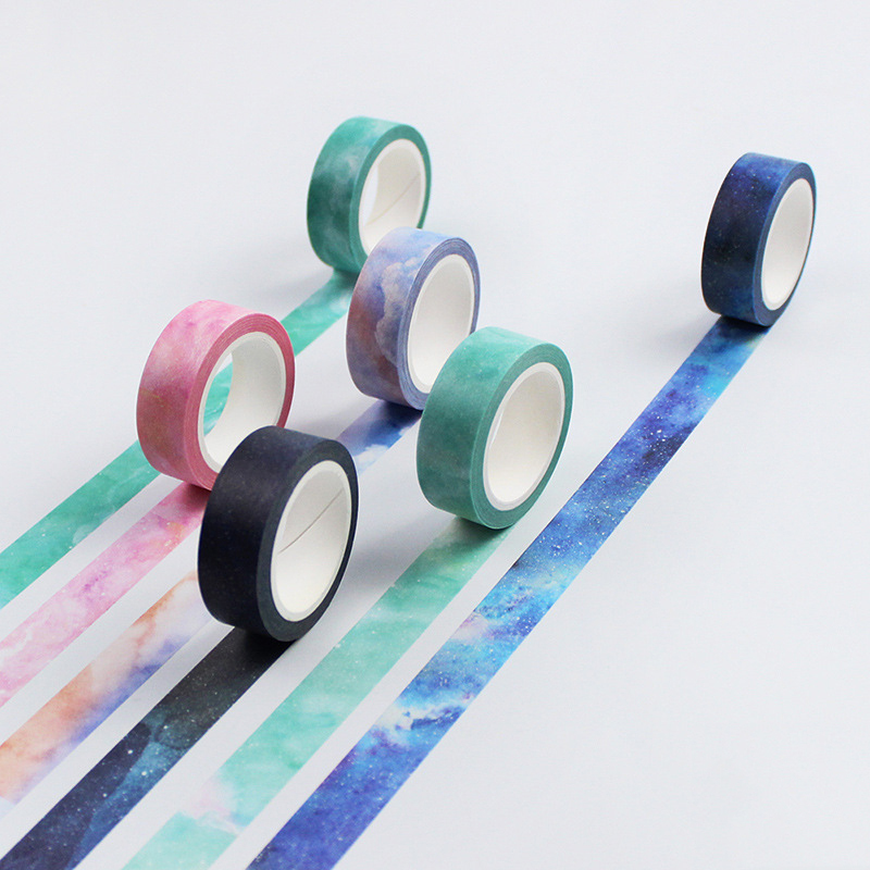 1PC New 15mmx8m Twilight Dream Nebula Washi Decorative Adhesive Tape DIY Masking Paper Tape Sticker Office Supplies